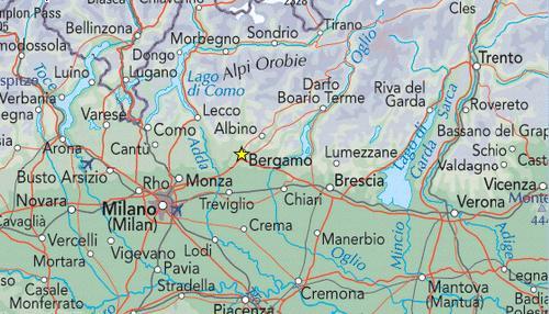 Mapa Del Norte De Italia Y Suiza.Lagos Del Norte De Italia